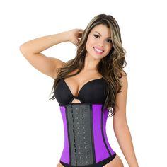 0d59e33ef55 Curvy Trainer 2030 Purple Workout Waist Trainer with 3 Hooks - Faja Latex Body  Shaper Ann