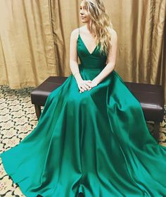 V-Neck Dark Green Charming prom dress, sexy prom dress,Charming prom dress, long prom dress,prom dresses, elegant prom dress, prom dress