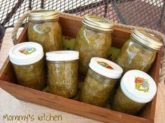 green tomato relish, I have made 2 batches of this, it is delicious, my only alteration is that I put in 1 hot pepper.