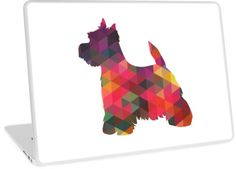 West Highland White Terrier - Westie - Colorful Geometric Pattern Silhouette by TriPodDogDesign. Adorable!