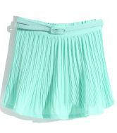 Mint Green Pleated Belt Chiffon Skirt $31.97