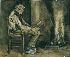 Farmer Sitting at the Fireside, Reading 1881