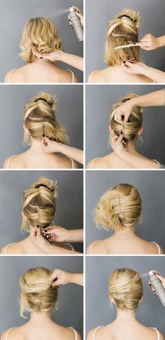 French roll-short hair up do