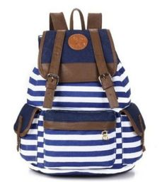 42228012eb11 Unisex Fashionable Canvas Backpack School Bag Super Cute Stripe School  College Laptop Bag for Teens Girls Boys Students - Blue Stripe Brand New  Size(approx.