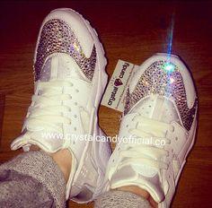 Crystal Nike Huarache in White