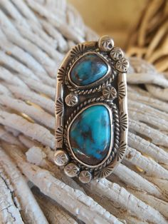 Navajo Red Webbed Blue Bisbee Turquoise Old pawn Ring