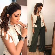Mega Auditions for dancer chapter 2 Outfit jumpsuit jacket earrings & ring and Indian Attire, Indian Wear, Indian Outfits, Indian Designer Outfits, Designer Dresses, Fashion Wear, Fashion Dresses, Style Fashion, Fashion Beauty