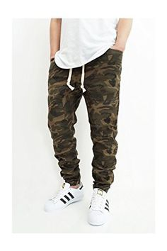 0114889055fe9d MEN S OLIVE CAMO TWILL DROP CROTCH JOGGER PANTS at Amazon Men s Clothing  store