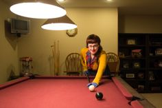 In which I pose like a pool player, sport a lovely mustard cardigan, and show you my parents' rec room | Chronically Vintage. #1940s #1950s #plaid #Austrian_fruit_brooch #pool
