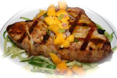 Grilled Albacore with Curry Oil and Mango Salsa