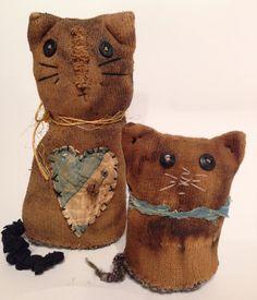 Primitive Sock Cat Bottle Doll Handmade Folk Art by ThePokeyPoodle