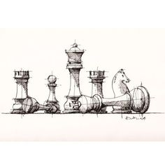 #chess pieces #sketch #drawing | by Dan Hogman: