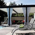 Pergola With Metal Roof Info: 4813346964 Louvered Pergola, Pergola Diy, Building A Pergola, Pergola Curtains, Pergola Garden, Metal Pergola, Deck With Pergola, Cheap Pergola, Pergola Shade