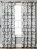 "Logan Linen Style Curtains in 3 classic or modern geometric color combinations, standard 84"" and 96"" inch length, extra long 108"" inch curtains and 120"" inch draperies : available with lining/interlining : grommets, back-tabs and rod pocket : Best Window Treatments"