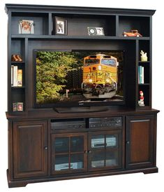 Legrand Entertainment Center for TVs up to 78 ByDarby Home Co Legends Furniture, Cool Tv Stands, Wood Molding, Entertainment Center Decor, Distressed Painting, Video Games For Kids, Safety Glass, My Living Room, Living Spaces