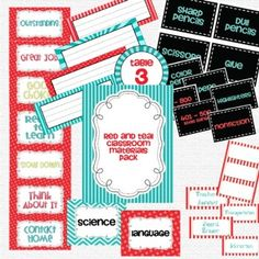 Classroom materials pack - red & aqua theme!  labels, behavior chart titles, subject titles, table numbers, name plates, etc.