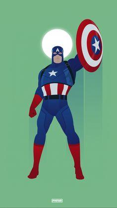 Har du mødt Captain America? En plakat med superhelten, der mest af alt er kendt for sine lederegenskaber og sit skjold, som han bruger til at nedkæmpe sine fjender. Samspillet mellem Captain America i sin blå og røde superheltedragt og den grønne baggrund, får plakaten til at passe ind i et hvert rum. Captain America, Marvel Drawings, Mario, Illustration, Fictional Characters, Collection, Poster, Capitan America, Illustrations
