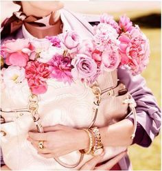 beautiful flowers and a great purse.