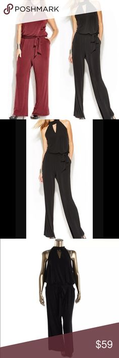 List! INC Black Keyhole Jumpsuit! NEW! Black only. Burgundy shown for styling only. Size 3X. NWOT only worn to model. INC International Concepts Pants Jumpsuits & Rompers