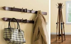 coat racks made of skis