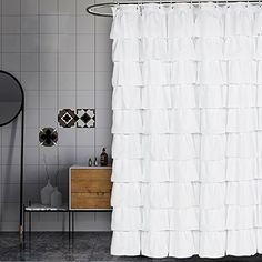 Looking for Volens White Shower Curtain Fabric/Ruffle Long ? Check out our picks for the Volens White Shower Curtain Fabric/Ruffle Long from the popular stores - all in one. White Ruffle Shower Curtain, Shabby Chic Shower Curtain, Farmhouse Shower Curtain, Extra Long Shower Curtain, Ruffle Shower Curtains, White Shower, Home Curtains, Bathroom Shower Curtains, Country Curtains