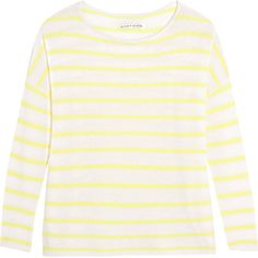 Alice + Olivia Efren striped cashmere sweater ($205) ❤ liked on Polyvore featuring tops, sweaters, cream, stripe sweater, white sweater, loose tops, striped cashmere sweater and white top