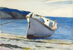 """This is a watercolor by Edward Hopper (1882-1967), of a 36 ft. motor lifeboat (MLB) entitled """"Coast Guard Boat I"""" In the lower right corner it is signed: Edward Hopper/Two Lights Me. It was painted in 1929 in Cape Elizabeth, Maine. For more info. see http://www.christies.com/lotfinder/drawings-watercolors/edward-hopper-coast-guard-boat-i-5793578-details.aspx#top"""