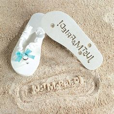 bb0cd678d JUST MARRIED Imprint 9 10 Flip Flops Bridal Shower Gift Beach Wedding Bride