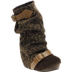 Irregular Choice Long Lashes Tweed Concealed Wedge Boots ( 164) Stivaletti  Alla Caviglia d6d70a4c700