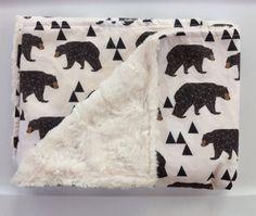Woodland Baby Bear Blanket-Be Brave-Adventure Nursery-Geometric Boy Nursery-Designer Fabric-Baby Shower Gift-Baby Crib Bedding