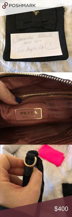 Prada bow clutch (no strap) Amazing clutch!! Missing strap. Price reflects this Prada Bags Clutches & Wristlets