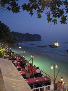 I have actually sat and eaten at this restaurant! Miss Thailand sooooooooooo much Krabi Thailand, Thailand Travel, Thailand Nightlife, Places To Travel, Travel Destinations, Places To Visit, Krabi Island, Ao Nang Krabi, Krabi Town