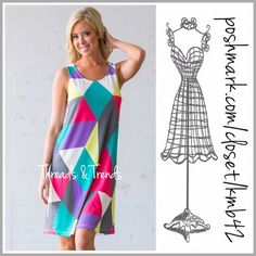 kaleidoscope Tunic Tank Dress (3 Sizes) kaleidoscope of colors sleeveless Tunic Dress. Fabulous summer dress for all occasions. Pair with sandals or flip flops for a casual look or dress it up with strappy espadrilles or heels. Size S, M, L. Made of a ploy/spandex blend. Threads & Trends Dresses