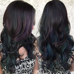 Subtle Peacock tones translated beautifully into #oilslickhair. My hair goal.
