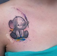 Unleash Your Creativity With These Watercolor Tattoo Ideas - Embrace Your Inner Artist With These Watercolor Tattoo Ideas: It seems like the majority of popular tattoo styles these days only come in one color — black. Mutterschaft Tattoos, Body Art Tattoos, Small Tattoos, Tatoos, Baby Elephant Tattoo, Elephant Tattoo Design, Pretty Tattoos, Beautiful Tattoos, Awesome Tattoos