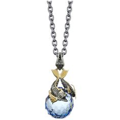 Stephen Webster Astro Ball Two Tone Blue Crystal Pisces Pendant... (€610) ❤ liked on Polyvore featuring jewelry, necklaces, ball pendant, chain link necklaces, blue pendant, crystal ball pendant necklace and blue necklace