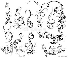 """Download the royalty-free vector """"Floral silhouette, element for design, vector tattoo"""" designed by Lana at the lowest price on Fotolia.com. Browse our cheap image bank online to find the perfect stock vector for your marketing projects!"""