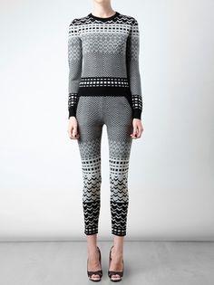 Opening Ceremony Fair Isle Knitted Wool Leggings in Gray (black) - Lyst