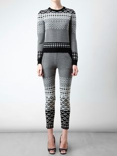 Opening Ceremony Fair Isle Knitted Wool Leggings in Gray (black) - Lyst