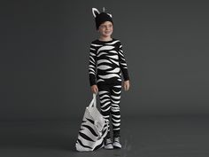 How to make a zebra costume that can turn into a skeleton costume with a few tweaks. #Halloween #Costume