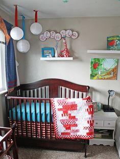 blue and red nursery Red Nursery, Nursery Decor, Nursery Ideas, Bedroom Ideas, Diy Projects List, Project List, Craft Projects, Craft Ideas, Toddler Dress Up