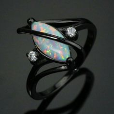 I just want this. White Opal & Diamond Ring...