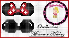 Minnie and Mickey Mouse ears x-stitch