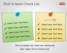 Free PowerPoint Check List Template with Post It Notes is a simple but useful PowerPoint template containing a check list design created with PowerPoint shapes and simulating the popular 3M Post-It note that you can use to represent a simple checklist