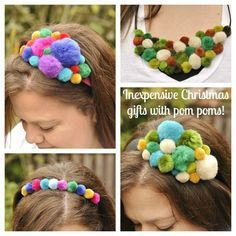 trendy sewing accessories to make pom poms Pom Pom Headband, Diy Headband, Baby Headbands, Pom Pom Crafts, Yarn Crafts, Diy Hair Accessories, Sewing Accessories, Inexpensive Christmas Gifts, Holiday Gifts