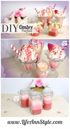 DIY Valentine's Day Sundae Candles  | LifeAnnStyle.com