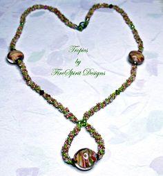 Tropics Spiral rope beadwoven ooak necklace by FireSpiritDesigns, $65.00