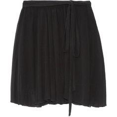 Étoile Isabel Marant - Akili Georgette Wrap Mini Skirt (375 BRL) ❤ liked on Polyvore featuring skirts, mini skirts, black, scallop edge skirt, georgette skirt, short skirts, wrap mini skirt and tie-dye skirts