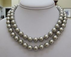 """34"""" LONG JOAN RIVERS HAND-KNOTTED PLATINUM COLOR 9.8 MM FAUX PEARL NECKLACE"""