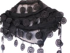SPIRAL Cotton Scarf With Lace Organic For by mediterraneanlights, $16.90
